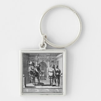 Comedians at the theatre of Hotel de Bourgogne Key Chain