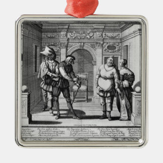 Comedians at the theatre of Hotel de Bourgogne Silver-Colored Square Decoration