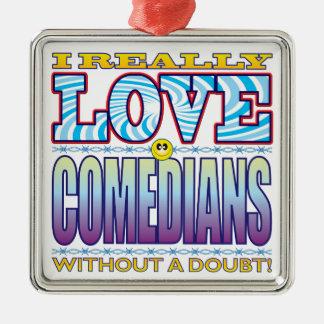 Comedians Love Face Silver-Colored Square Decoration