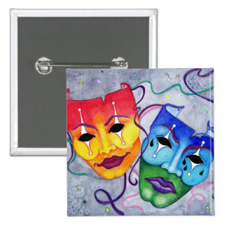 Comedy and Tragedy 15 Cm Square Badge