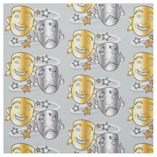 Comedy and Tragedy Drama Masks Gold and Silver Fabric