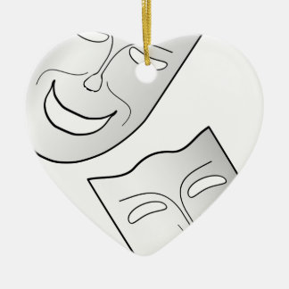 Comedy and Tragedy Faces/Masks Ceramic Heart Decoration
