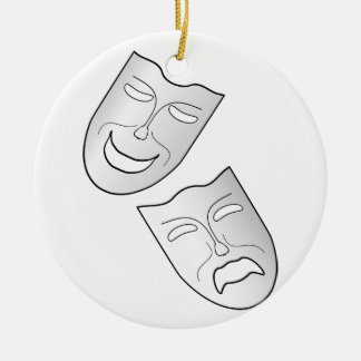 Comedy and Tragedy Faces/Masks Round Ceramic Decoration