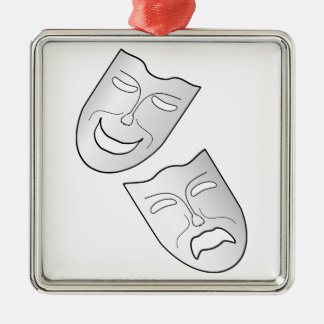 Comedy and Tragedy Faces/Masks Silver-Colored Square Decoration