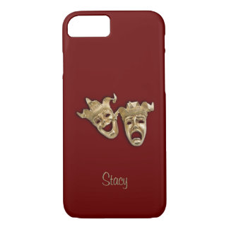 Comedy and Tragedy Maroon Theater Monogram iPhone 7 Case