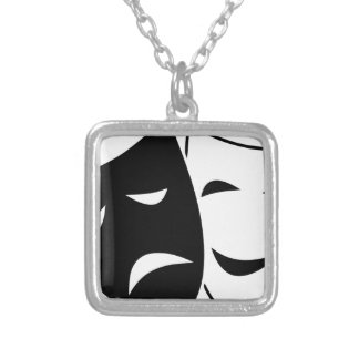 Comedy And Tragedy Mask Silver Plated Necklace