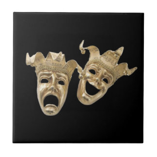 Comedy and Tragedy Masks R Black Tile