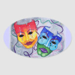 Comedy and Tragedy Oval Sticker
