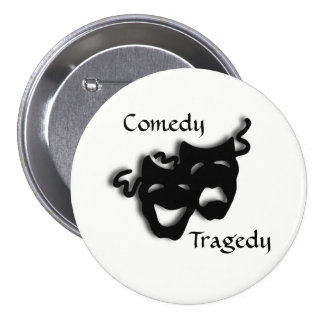 Comedy and Tragedy Theater Masks 7.5 Cm Round Badge