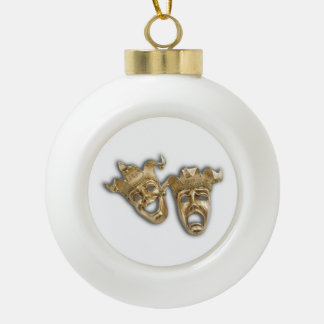 Comedy and Tragedy Theater Masks Ceramic Ball Christmas Ornament