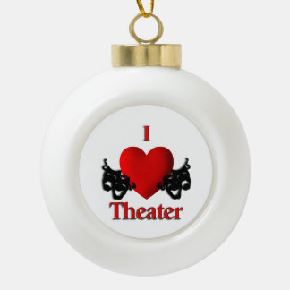 Comedy and Tragedy Theater Masks Ceramic Ball Decoration