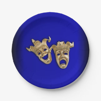 Comedy and Tragedy Theater Masks Cobalt Paper Plate