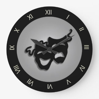 Comedy and Tragedy Theater Masks Large Clock