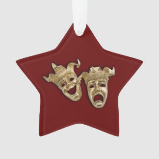 Comedy and Tragedy Theater Masks Maroon Ornament