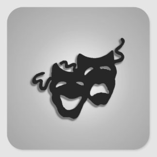 Comedy and Tragedy Theater Masks Square Sticker