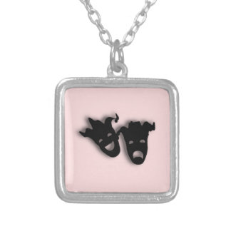 Comedy and Tragedy Theater Pink Silver Plated Necklace