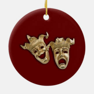 Comedy and Tragedy Theater Round Ceramic Decoration