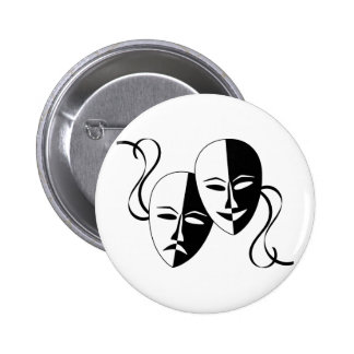Comedy and Tragedy Theatre Masks/Faces 6 Cm Round Badge