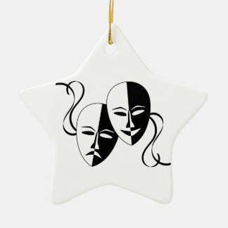 Comedy and Tragedy Theatre Masks/Faces Ceramic Star Decoration