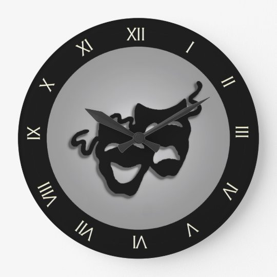 Comedy and Tragedy Theatre Masks Large Clock