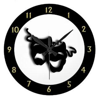 Comedy and Tragedy Unique Theatre Large Clock