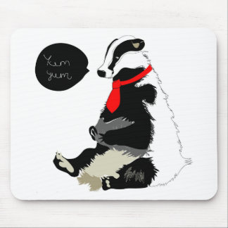 Comedy badger in neck tie mouse mat