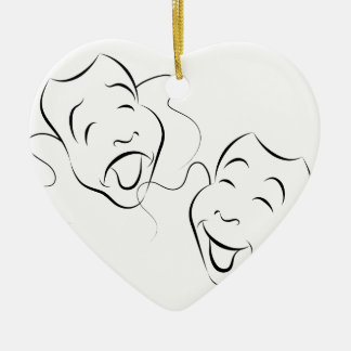 Comedy Drama Masks Ceramic Heart Decoration