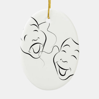 Comedy Drama Masks Ceramic Oval Decoration