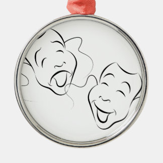 Comedy Drama Masks Silver-Colored Round Ornament