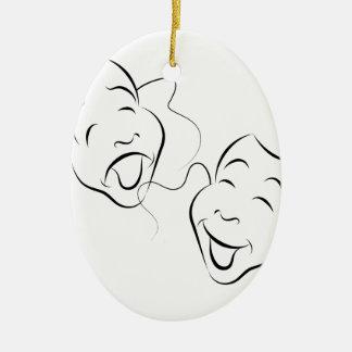 Comedy Drama Masks Ceramic Oval Ornament