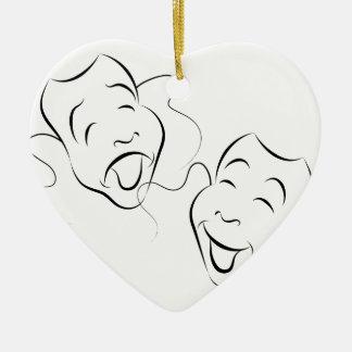 Comedy Drama Masks Ceramic Heart Ornament