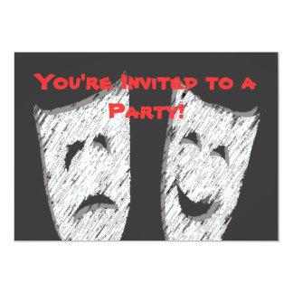 Comedy Tragedy 13 Cm X 18 Cm Invitation Card