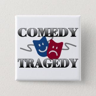 Comedy Tragedy 15 Cm Square Badge