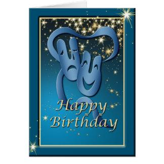Comedy Tragedy Blue Theatre Mask Birthday Card