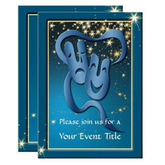 Comedy Tragedy Blue Theatre Mask Custom Invite