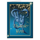 Comedy Tragedy Blue Theatre Mask Thank You Note Stationery Note Card