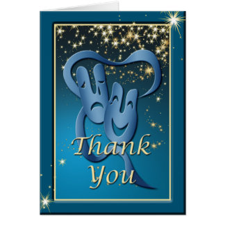 Comedy Tragedy Blue Theatre Mask Thank You Note Note Card