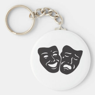 Comedy Tragedy Drama Theatre Masks Basic Round Button Key Ring