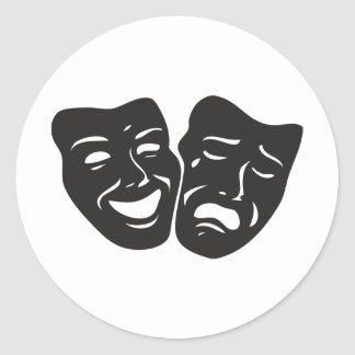 Comedy Tragedy Drama Theatre Masks Classic Round Sticker
