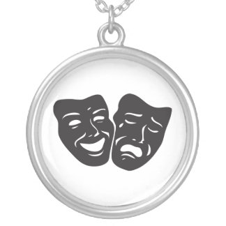 Comedy Tragedy Drama Theatre Masks Round Pendant Necklace