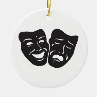 Comedy Tragedy Drama Theatre Masks Round Ceramic Decoration