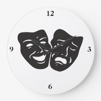Comedy Tragedy Drama Theatre Masks Wall Clock