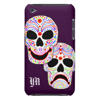 Comedy-Tragedy Halloween DOTD Skulls monogram Barely There iPod Covers
