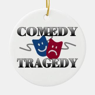 Comedy Tragedy Round Ceramic Decoration