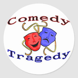 Comedy Tragedy Theatre Masks Classic Round Sticker