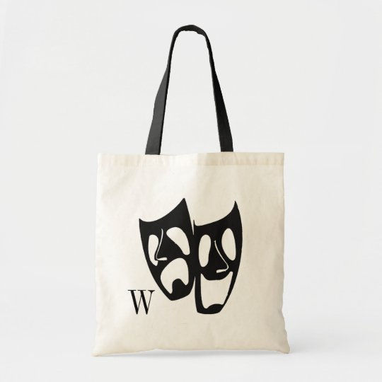 Comedy Tragedy Theatre Monogram Tote Bag