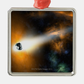 Comet descending through atmosphere christmas ornament