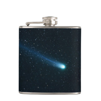 Comet in Night Sky Hip Flask