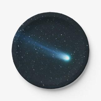 Comet in Night Sky Paper Plate