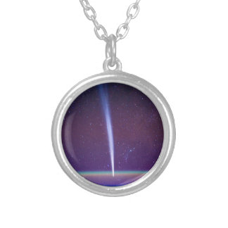 Comet Lovejoy Near Earth's Horizon Silver Plated Necklace